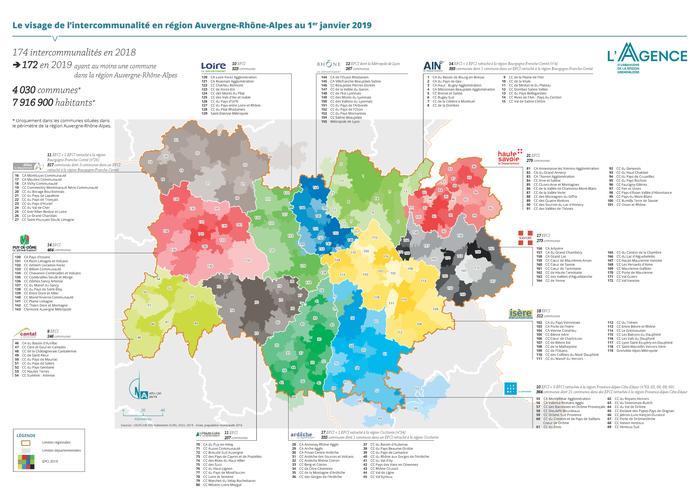 Les Intercommunalites De La Region Auvergne Rhone Alpes En Janvier 2019 Observer Article